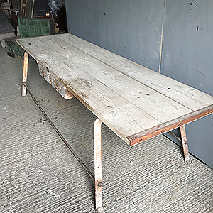 Large Scrubbed Pine amp Metal Table in Original Paint