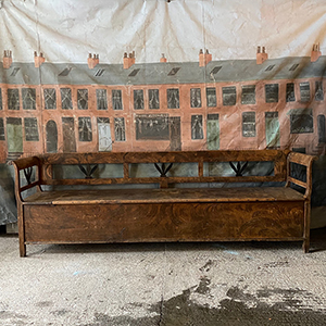 Long Antique Pine amp Fruitwood Bench in Original Grain Painting