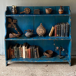 Low Pine Waterfall Bookcase in Original Blue Paint