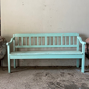 Modernist Bench in Original Turquoise Blue