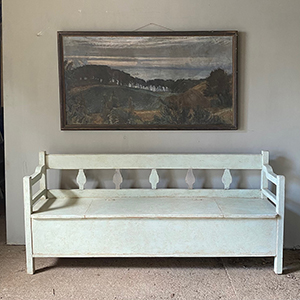 Modernist Style Bench in Pale Blue