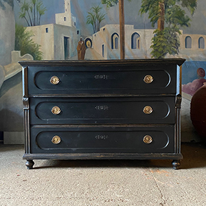 Neo-Classical Antique Pine Commode in Warm Black