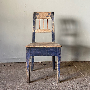 Neo-Classical Style Peasant Chair in Original Blue Paint