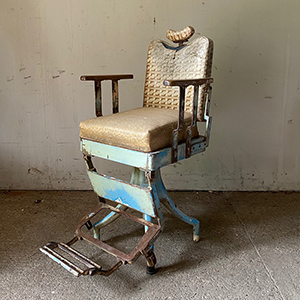 Original Blue Painted Wood amp Metal Barbers Chair