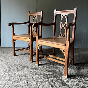 Pair of Arts amp Craft Gothic Revival Armchairs