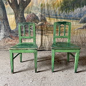 Pair of Childrens Chair in Original Green Paint
