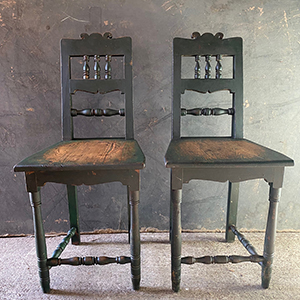 Pair of Country Chairs in Original Green Paint