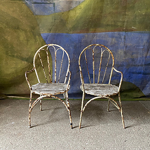Pair of Decorative Garden Chairs in Original Paint