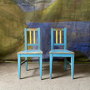 Pair of Decorative Pine Chairs in Original Paint