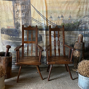 Pair of High-Back Primitive Elm amp Ash Armchairs