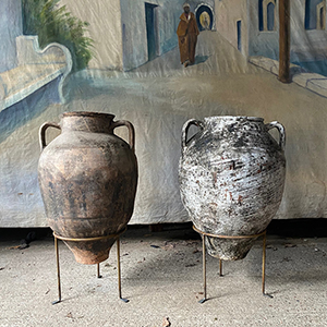 Pair of Large Olive Pots with Handles