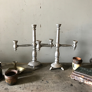 Pair of Painted Pine Candlesticks