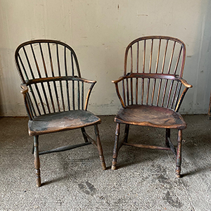 Pair of West Country Windsor Chairs in Original Paint