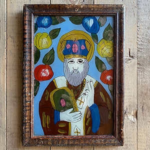 Peasant Icon on Glass of St Nicholas in Original Frame