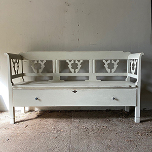 Pretty Antique Bench with Drawer in Stone White