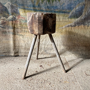 Primitive Butcher Block Tripod Table