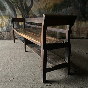 Primitive Oak and Fruitwood Bench