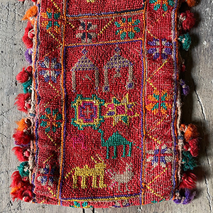 Rare Antique Embroidered Nomad Weaving with Animals