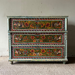 Rare Antique Pine Marriage Chest with Folk Painting