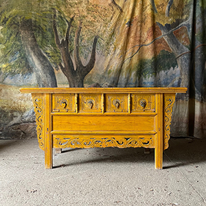 Rare Elm Carved Side Table in Original Paint