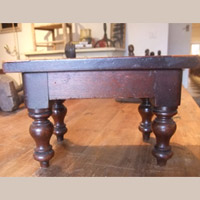 Mixed hardwood candlestand with inlaid lovehearts
