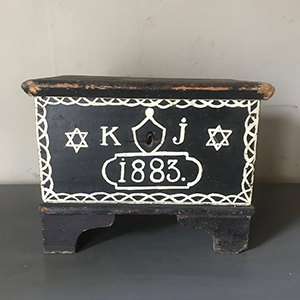 Rare Small Painted Jewish Marriage Box