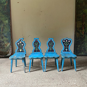 Set of 4 Oak Folk Painted Peasant Chairs