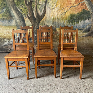 Set of 6 Painted Country Chairs in Original Paint