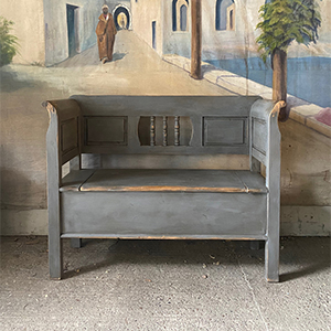 Small Antique Painted Pine Box Bench