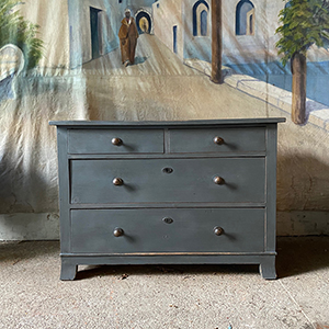 Small Antique Pine Chest in Mid-Grey