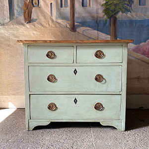 Small Decorative Antique Painted Pine Chest
