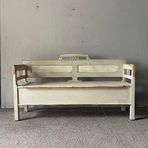 Small Modernist Bench in Old White