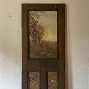 Superb Aesthetic Movement Painted amp Signed Door