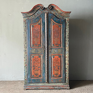 Superb Baroque Folk Painted amp Carved Marriage Cupboard