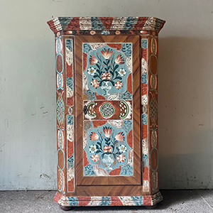 Superb Folk Painted Armoire in Blue amp White with Flowers