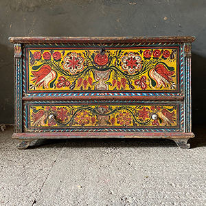 Superb Folk Painted Dowry Box with Drawer