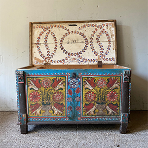 Superb Folk Painted Marriage Box