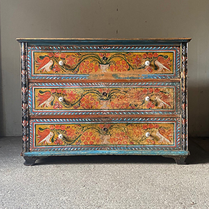 Superb Folk Painted Marriage Chest