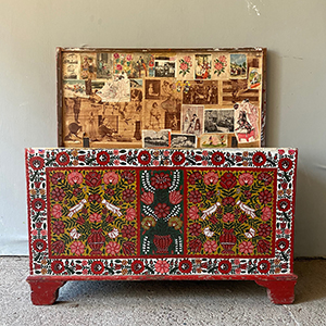 Superb Folk Painted Marriage Chest with Keepsakes
