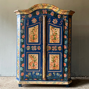Superb Folk Painted Marriage Cupboard