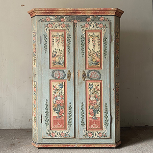 Superb Folk Painted Marriage Cupboard in Blue amp Pink