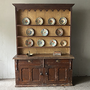 Superb Irish Dresser with Carved Frieze in Original Paint