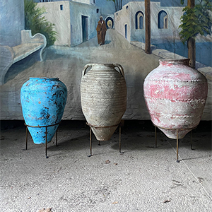 Three Large Antique Urns or Olive Pots