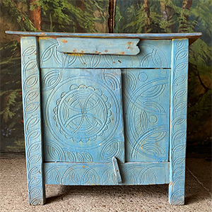 Traditional Shepherds Cupboard with Compass Circles in Original Blue