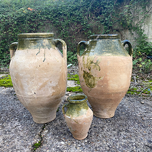Vintage Antique Green Glazed Terracotta Urns