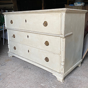 Wide Antique Painted Pine Commode