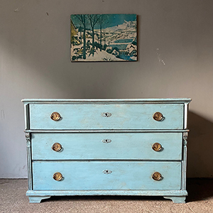 Wide Neo-Classical Painted Pine Commode