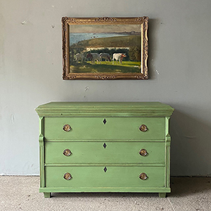 Wide Neo-Classical Pine Commode in Green