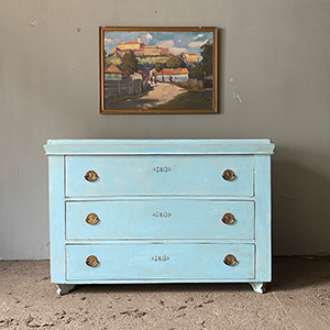 Wide Neo-Classical Pine Commode in Powder Blue