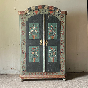 Wonderful Pine Marriage Cupboard with Love Hearts amp Birds